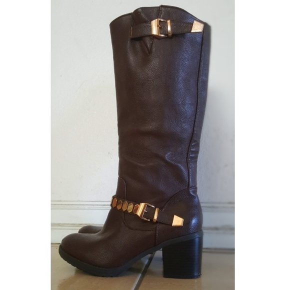 Forever 21 Shoes - Gold Studded-Strap Brown Knee High Boots 👢🍁